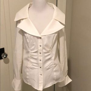 Cache White Shawl Collar Snap Front Blouse